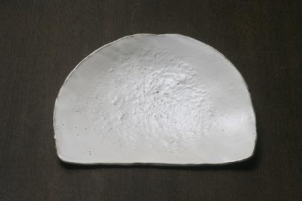 花岡隆 粉引半月皿